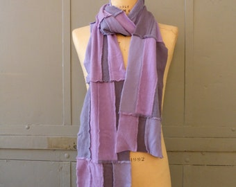 Lavender cashmere scarf modern style with fringe edges extra long repurposed