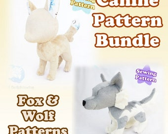 Fox and Wolf Plush Pattern Bundle Canine Plushie Sewing Pattern Digital Download Plushie Fox Pattern Wolf Pattern