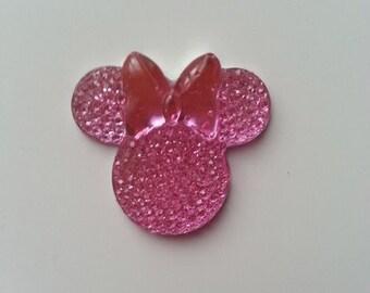 tête de souris minnie  rose   30*25mm