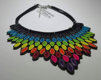 Multicolor tribal necklace Ray of Sunshine, ethnic necklace, large bib statement necklace, ethnic jewelry, unique necklaces for women