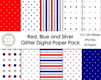 Red, Blue and Silver Glitter Digital Paper Pack | Digital Paper, Scrapbook Paper, Printable Paper, Digital Scrapbook | Instant Download