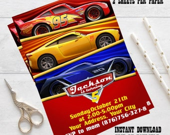 Instant Download-Disney Cars Invitation, Disney Cars Birthday Party Invite, Cars editable Invitation, Cars 3 invitation, editable pdf invite