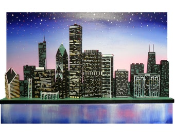 MADE TO ORDER - Skye Taylor Chicago skyline 3d Original art Cityscape Wall art Original one of a kind...Chicago in Twilight, 36 x 24,