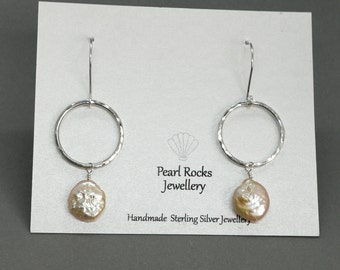 Peach Coin Freshwater Pearl & Sterling Silver Hoop Dangle Earring