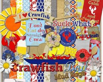 Crawfish Boil Seafood Digital Scrapbook Kit