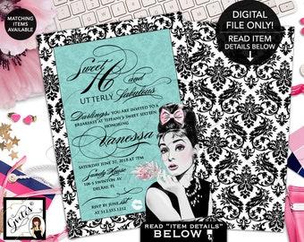 "Sweet 16 Invitation, Teen Invites, Audrey Hepburn Inspired Sweet 16 Birthday Printable Invites, Double Sided 5x7"" African American, Gvites."