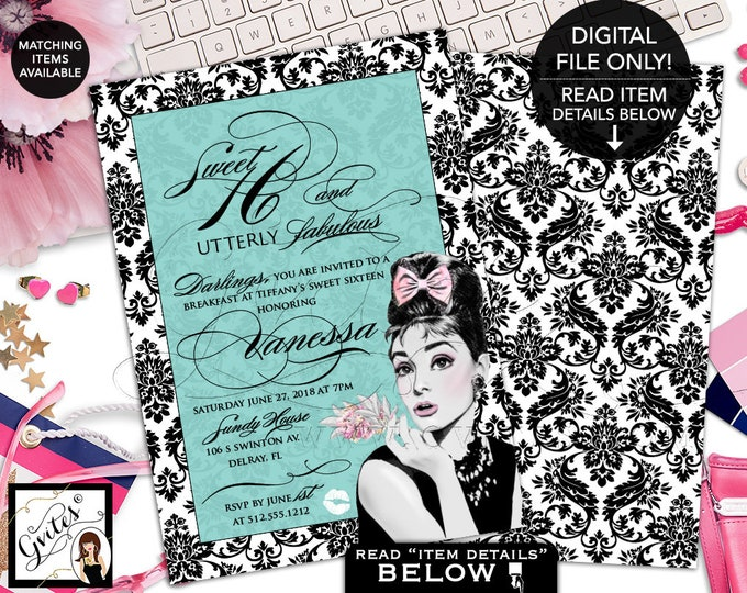 "Sweet 16 Invitation, Teen Invites, Audrey Hepburn Inspired Sweet 16 Birthday Printable Invites, Double Sided 5x7"" African American, Gvites."