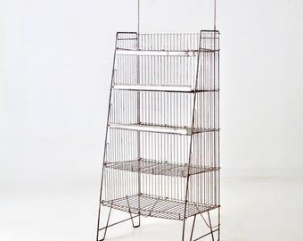 vintage metal shelving rack, industrial display rack