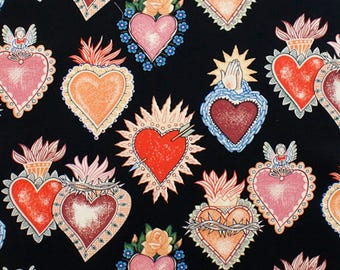 Alexander Henry Gothic Alma y Corazon Tattoo Style Soul & Hearts on Black 100% Cotton Fabric - FQ