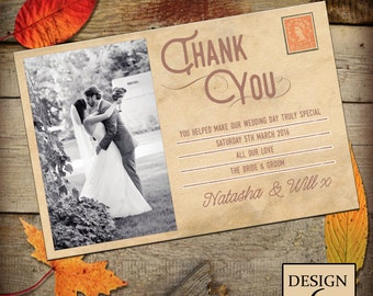 Wedding Personalised Thankyou Card No. 6