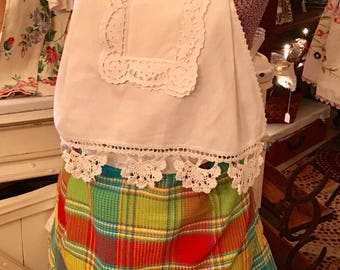 One Of a Kind Apron Made From Vintage Linens, Trim & Cotton Dishtowel