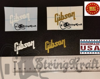 Gibson Headstock Decal - Premium Vinyl - USA Made - 1 Gold + 1 White - Perfect Fit for Gibson Guitars