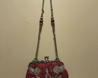 Vintage Pink Evening Bag with Silver Sequin Accent and Beads