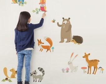Woodland Nursery, Woodland Animals, Wall Decals Nursery, Owl Nursery Decor, Baby Nursery, Peel and Stick Stickers