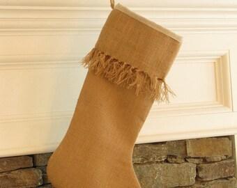 Burlap Christmas Stocking Stockings Knotted Fringe Cuff