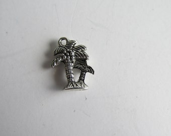 Coconut, Palm Tree, Charm, 3-D double sided, antique silver, pewter charm    AP98