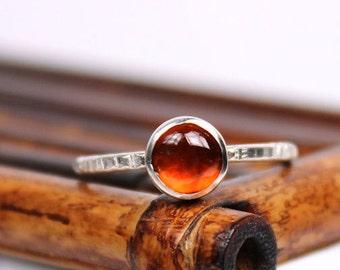 Hessonite Garnet Ring, January Birthstone Ring, Gemstone Ring, Garnet Ring, Sterling Silver Ring, Handmade Ring
