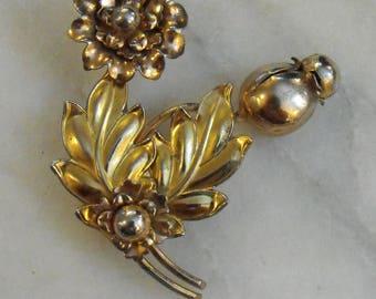 Gold Washed Sterling Silver Flower Brooch