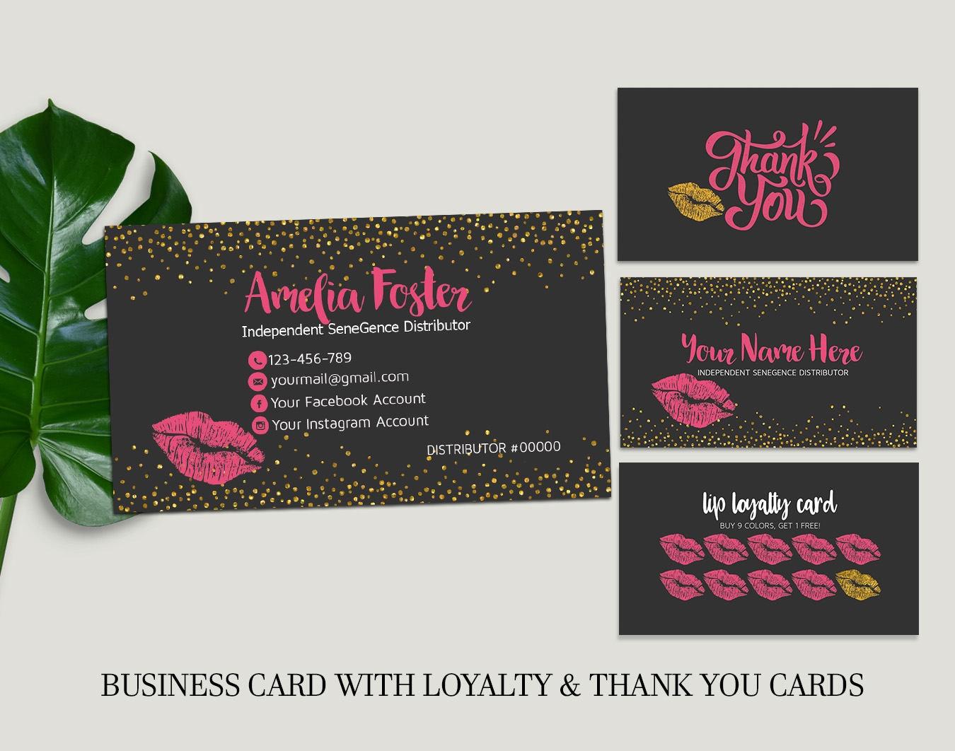 Lipsense Business Cards Lip Sense Senegence Business Cards