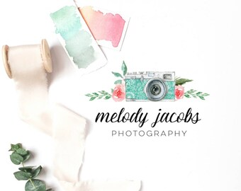 Photography Logo · Premade Logo · Watercolor Logo · Floral Logo · Branding Design · Watermark · Photographer Logo ·  Watercolor Floral Logo