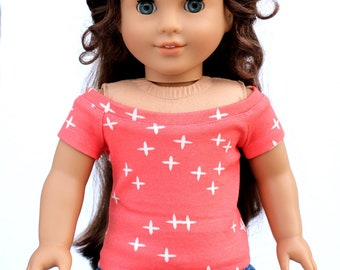 Fits like American Girl Doll Clothes - Coral Stars Boatneck Raglan Top | 18 Inch Doll Clothes