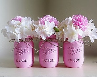 Pink Baby Shower Centerpieces, Pink Mason Jars, Girl Baby Shower, Birthday Party, Communion, Baptism, Party Decor, Rustic Nursery Decor