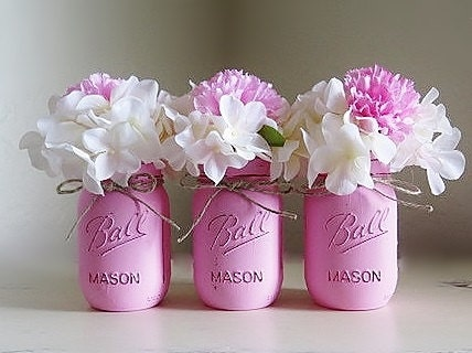 Pink Mason Jars Baby Girl Baby Shower Centerpieces Painted