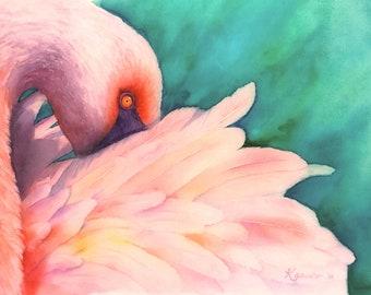 "Flamingo watercolor 11 X 15"" print"