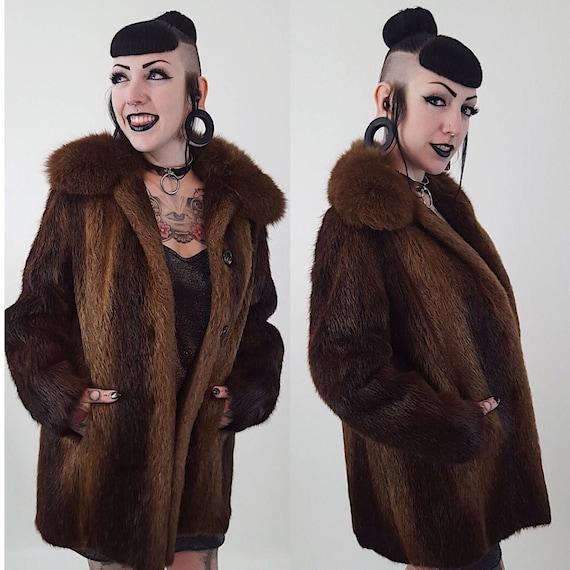 90's Brown Beaver Fur Winter Coat Medium Large - Soft Furry Classic Genuine Fur Jacket - Fall Winter Womens Unisex Street Fashion Vintage