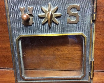 Vintage Post Office P.O. Door Mail Box Postal Brass Glass Antique U*S