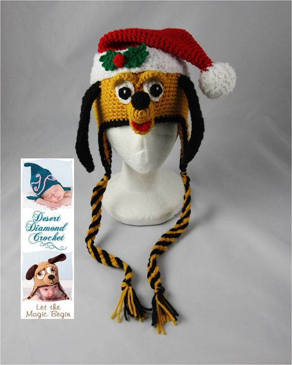Crochet Pattern 039 - Christmas Santa Puppy Beanie Hat - All Sizes
