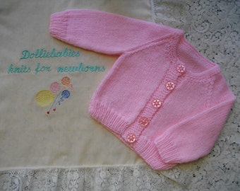 """Hand Knitted Baby Girl's ROUND Neck Cardigan 0-3 Months or 22"""" Reborn Doll"""