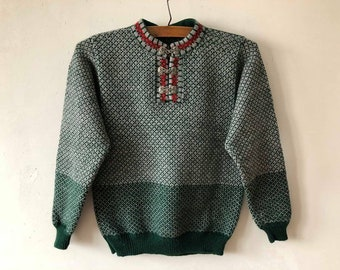 Nordic Sweater Green Gray Pure Wool Norwegian Design Winter Pullover Hook Closure Classics Ugly Sweater Knitted Women's Jumper Size Small