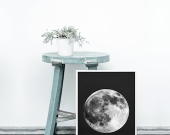 Moon print - Scandinavian printable art - Scandinavian modern print - Full moon art print - Digital art - Lunar poster - Black background