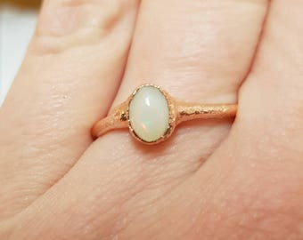 Ethiopean opal ring,Welo opal copper stacking ring,October birthstone ring,dainty stackable ring,boho hippy opal ring,witchy jewellery