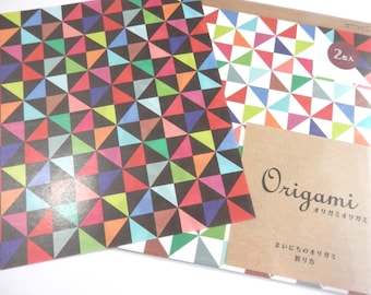 Triangle Origami Paper - Windmill Origami Paper Plus Origami Folding Instructions ( 20 sheets total - 10 in black , 10 in white )