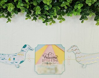 Dachshund Welcome Little One Baby Handmade Paper Garland
