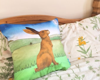 Hare Decorative Throw CushionCushion Cover, Throw Cushion, Pillow, Decorative Cushion, Hare Gift, Rabbit Lover Gift
