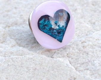 Glass Heart Tie Tack or Lapel Pin,Stud Brooch - Copper Heart Encased in Glass  - Pale Pink with Iridescent Teal Blue Heart - Gift Boxed