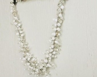 White necklace of chain and seed beads