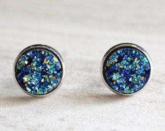 Starlight - Blue Druzy Lucite Bridesmaid Stud Earrings