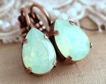 Mint Earrings, Mint Drop Earrings, Mint Crystal Drop Earrings, Bridal Green Crystal Mint Opal Earrings, Christmas Gift, Bridesmaids Earrings