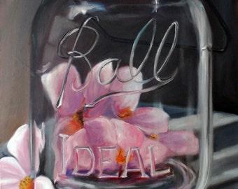 Jar of Spring Oil painting, original art, still life painting