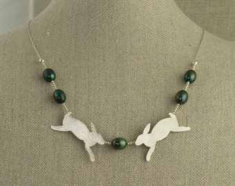 Rabbit Necklace Bunny Sterling Silver Pearl Green