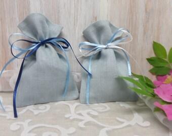 Linen favor bags set of 50, linen gift bags, small burlap pouches, blue bags, baby blue ribbon