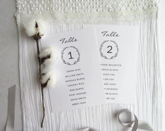 Printable Seating Chart for 21 Tables     Simple Wreath COLLECTION 5x7 inches - Style 09