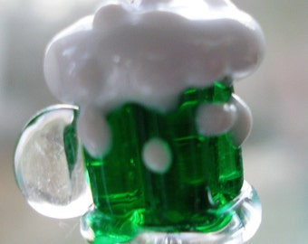 Beer Mug Earrings, Green Beer, Beer Mug Lampwork Beads Beerfest Octoberfest St Patrick's Day