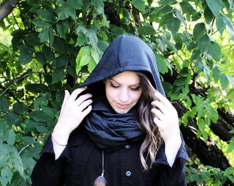 Infinity scarf with hood in dark gray