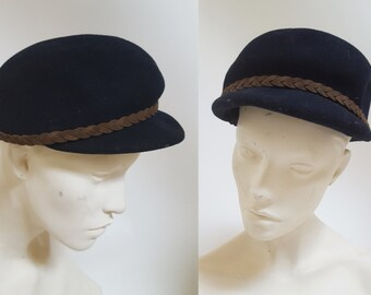 sale 1980s Armani Navy Blue Wool Newboy Cap
