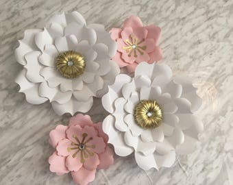 Large Paper Flowers - Set of 4